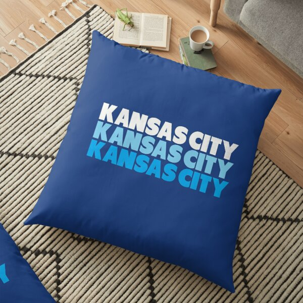 Retro KC Royal Blue & Light Blue Kansas City Crown Town KC Baseball Fans Wear Kansas city KC Face mask Kansas City facemask Floor Pillow