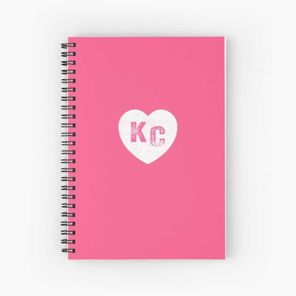 Pink Kansas City KC Heart Collection I Love Kc Hearts KC Face mask Kansas City facemask Spiral Notebook