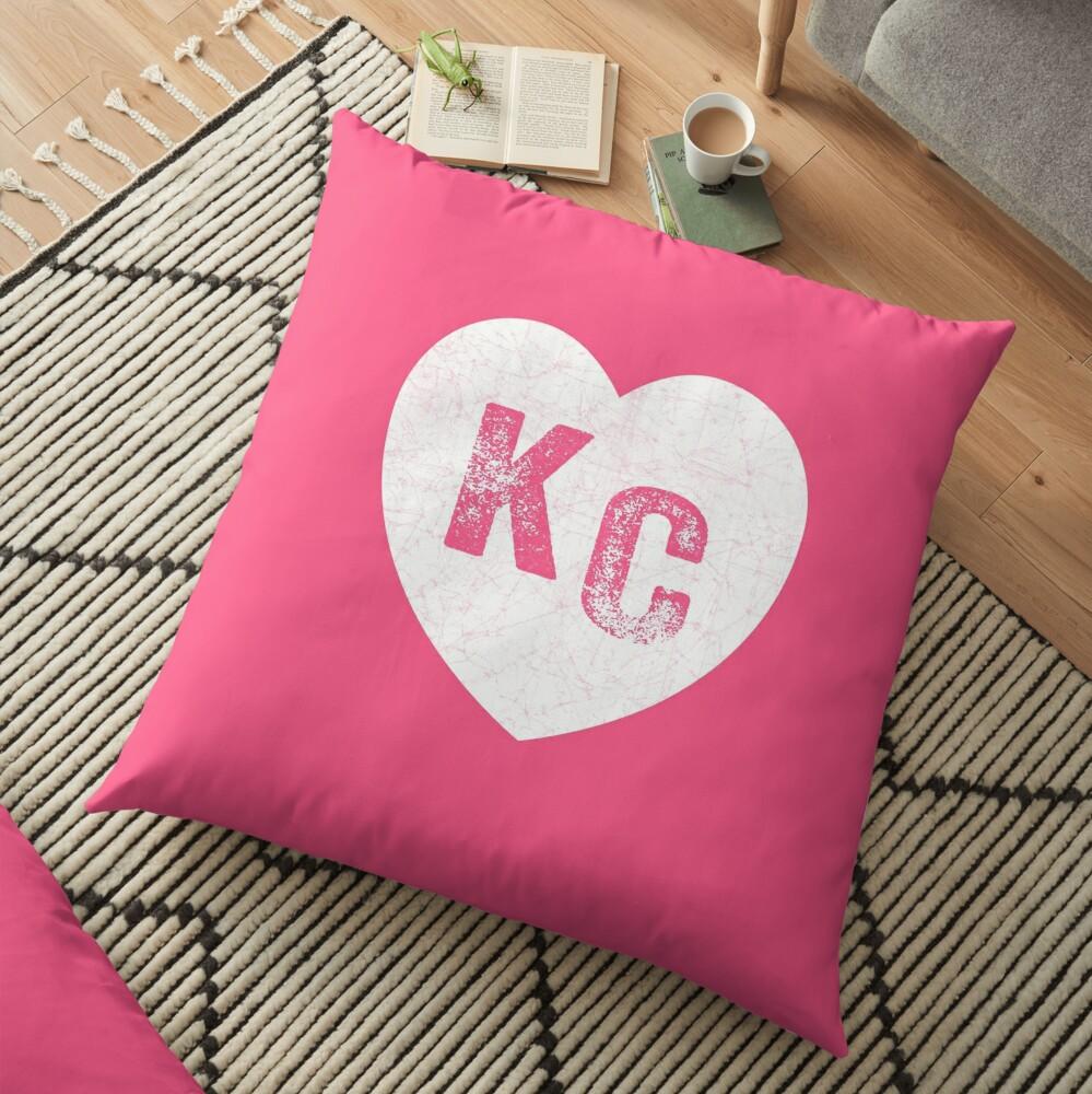 Pink Kansas City KC Heart Collection I Love Kc Hearts KC Face mask Kansas City facemask Floor Pillow
