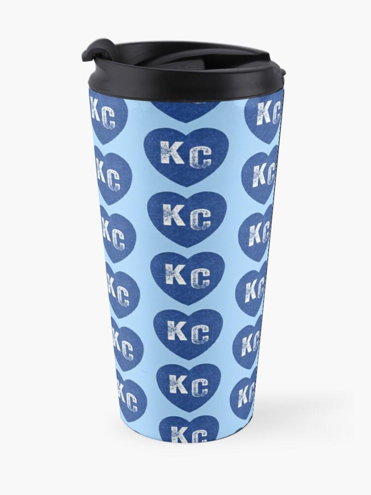 Alternate view of Royal Blue KC Blue Heart Kansas City Hearts I Love Kc heart Kansas city KC Face mask Kansas City facemask Travel Mug