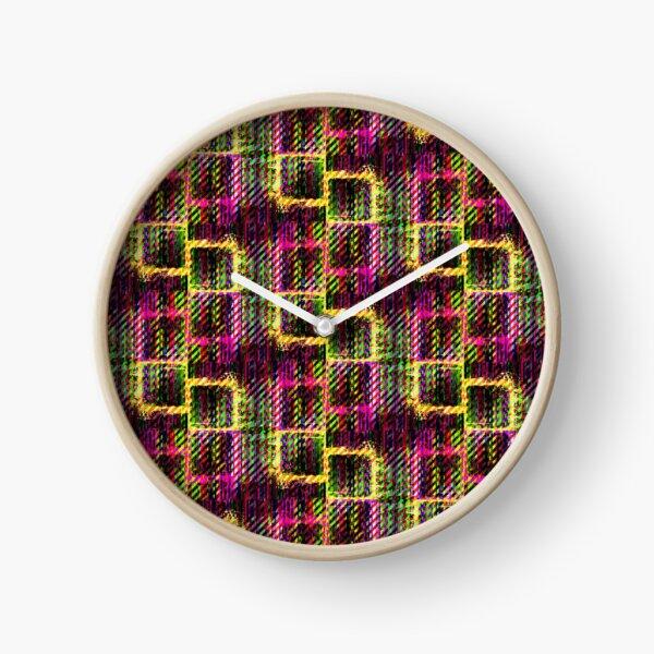 Splat Plaid - Pink Clock