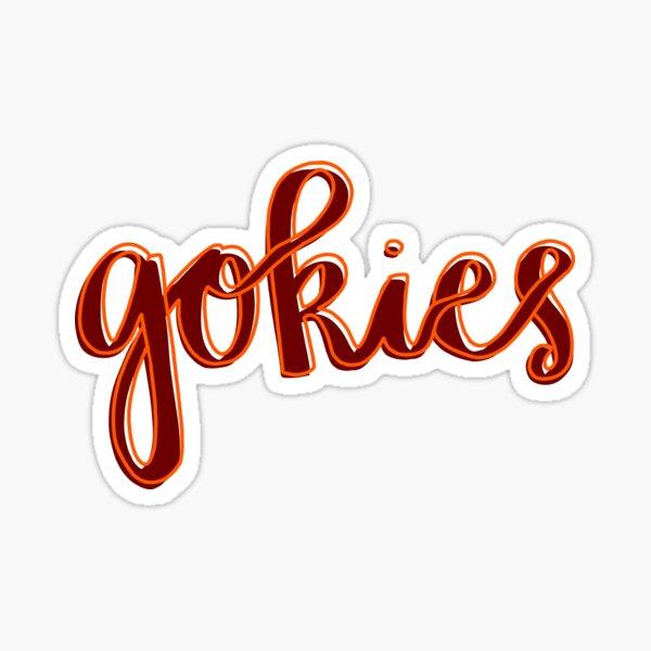 Gokies Orange and Maroon Cursive Sticker