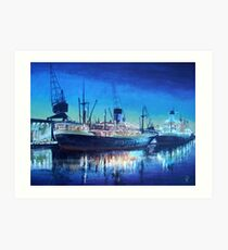 Night dockscene Art Print