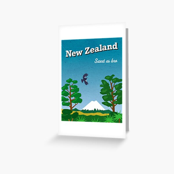 Vintage-style New Zealand travel poster Greeting Card