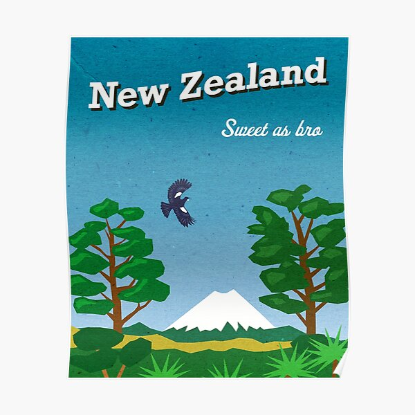 Vintage-style New Zealand travel poster Poster