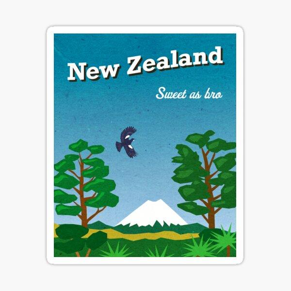 Vintage-style New Zealand travel poster Sticker