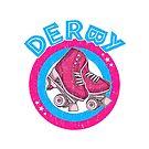 Rollen-Derby-Mädchen-80er Skate-Disco - Rosa u. Blau - runder Text von phoxydesign
