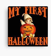 MY FIRST HALLOWEEN with Vintage Art Canvas Print