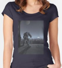 Future City - Robot Sentinel at Moon Rise Women's Fitted Scoop T-Shirt