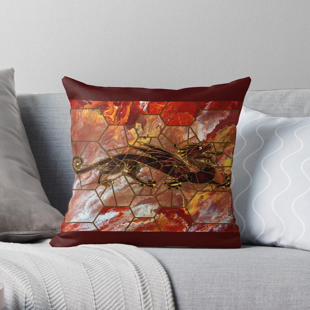 Dragon on Glass Throw Pillow
