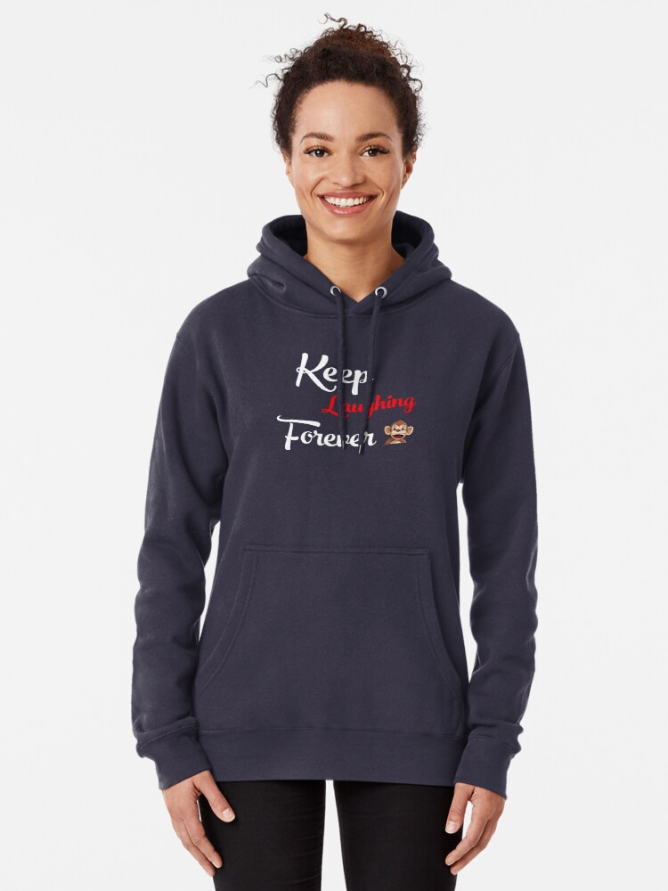 Alternate view of Keep Laughing Forever Monkey Pullover Hoodie