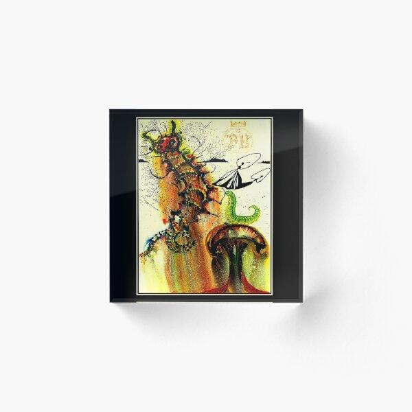ALICE IN WONDERLAND : Vintage 1969 Caterpillar Dali Print Acrylic Block
