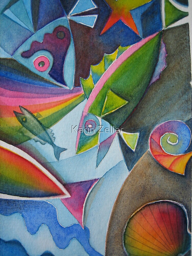 Fish abstract doodle by Karin Zeller