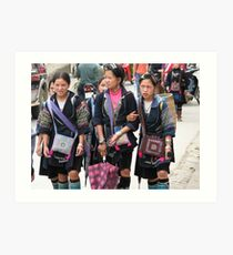 Sapa, Vietnam - Young  Hmong girls Art Print