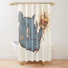 Rhino Burger YUM! Shower Curtain