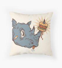 Rhino Burger YUM! Throw Pillow