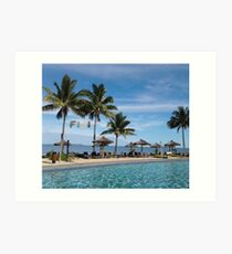 FIJI Islands Paradise Palms with Fiji Brown Text Art Print