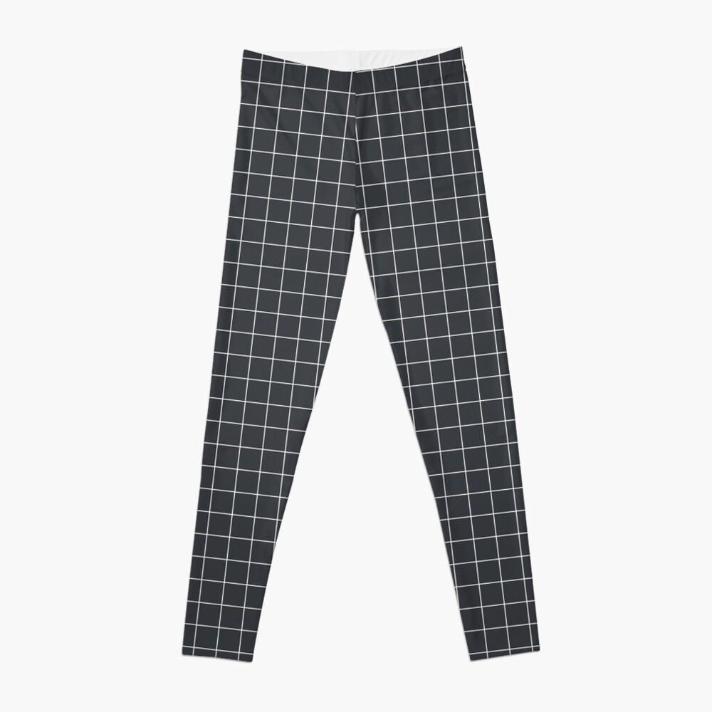 Grid pattern on dark blue Leggings