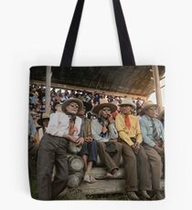 Crow Native Americans watching the rodeo at Crow fair in Montana, 1941 Tote Bag