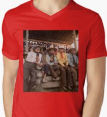 Crow Native Americans watching the rodeo at Crow fair in Montana, 1941 V-Neck T-Shirt