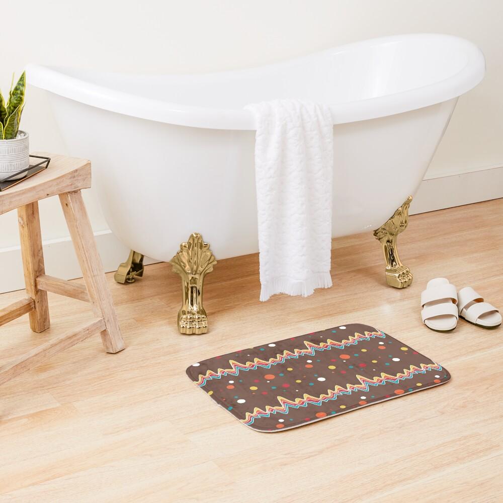rainbow ecg and colorful confetti on chocolate Bath Mat
