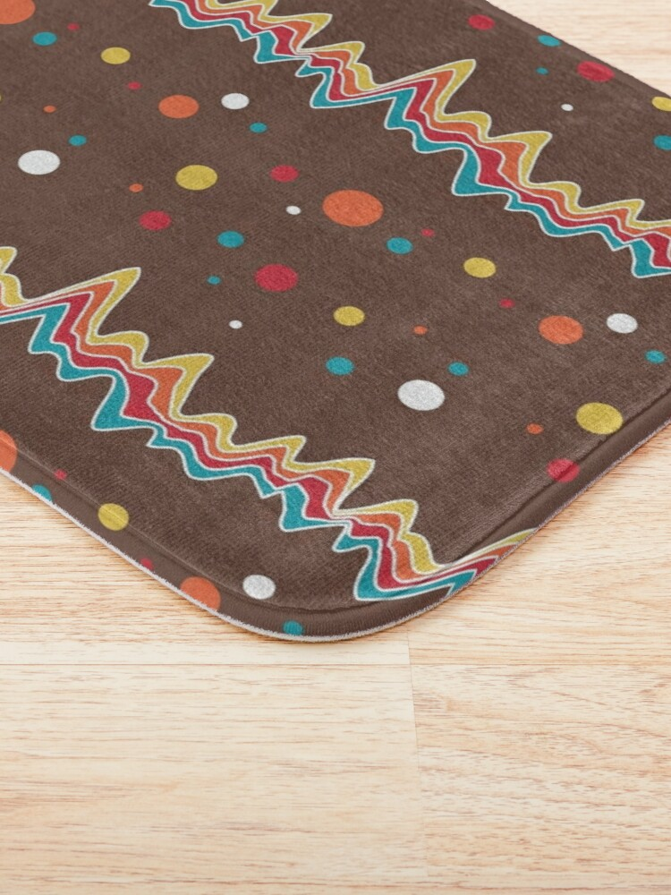Alternate view of rainbow ecg and colorful confetti on chocolate Bath Mat