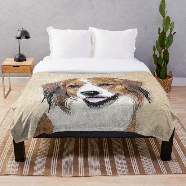 Nederlandse Kooikerhondje Painting - Dog Art Throw Blanket