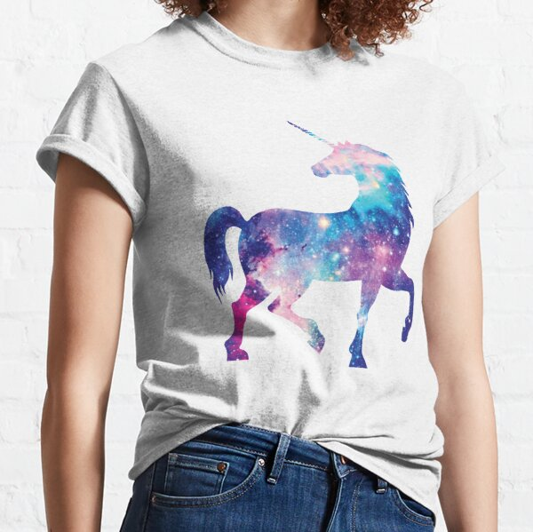 Cosmic watercolor unicorn Classic T-Shirt