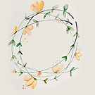 Whimsical Watercolour Flower Wreath by Sybille Sterk