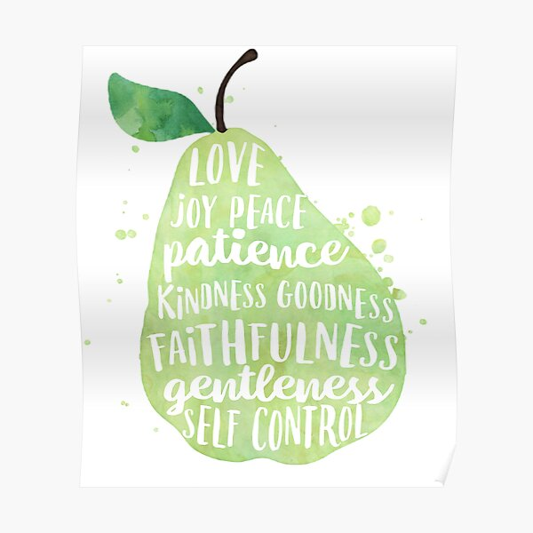 Fruit of the spirit watercolor pear Poster