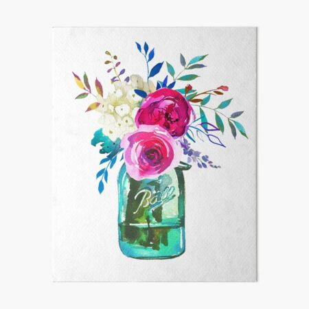Watercolour Mason Jar with Red Flowers High Gloss Wooden Coaster