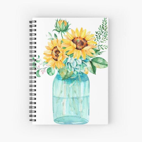Sunflowers, Mason jar, sunflower bouquet, watercolor, watercolor sunflowers Spiral Notebook
