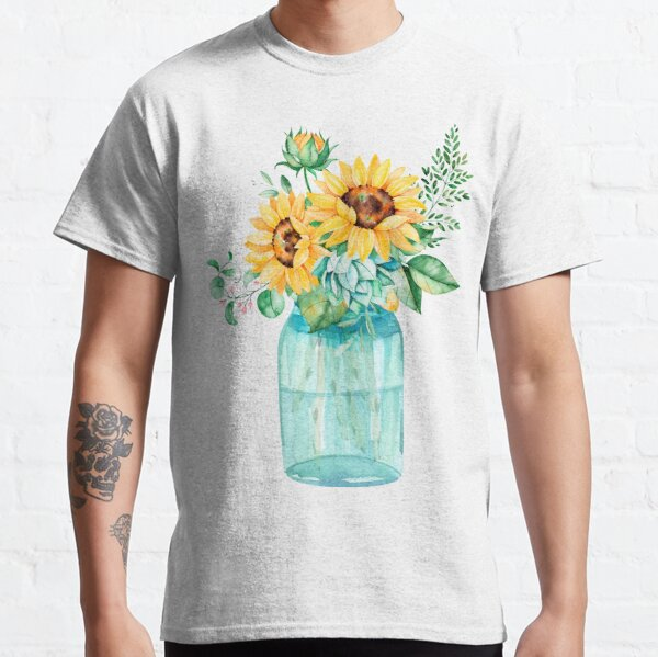 Sunflowers, Mason jar, sunflower bouquet, watercolor, watercolor sunflowers Classic T-Shirt