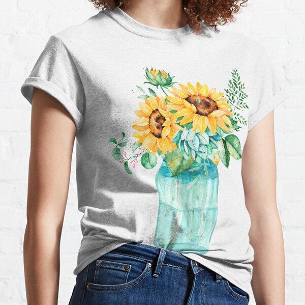 Sunflowers, Mason jar, sunflower bouquet, watercolor, watercolor sunflowers Classic T-Shirt