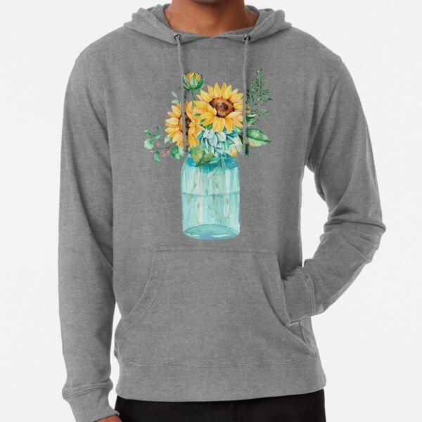 Sunflowers, Mason jar, sunflower bouquet, watercolor, watercolor sunflowers Lightweight Hoodie