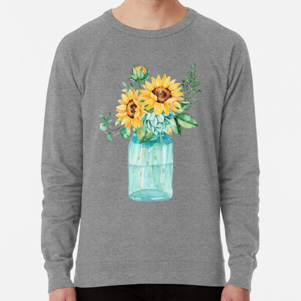 Sunflowers, Mason jar, sunflower bouquet, watercolor, watercolor sunflowers Lightweight Sweatshirt
