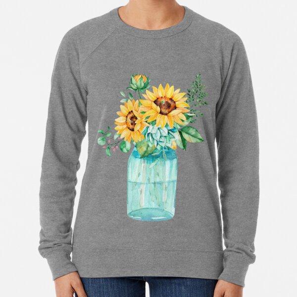 Sunflowers, Mason jar, sunflower bouquet, watercolor, watercolor sunflowers Lightweight Sweatshirt