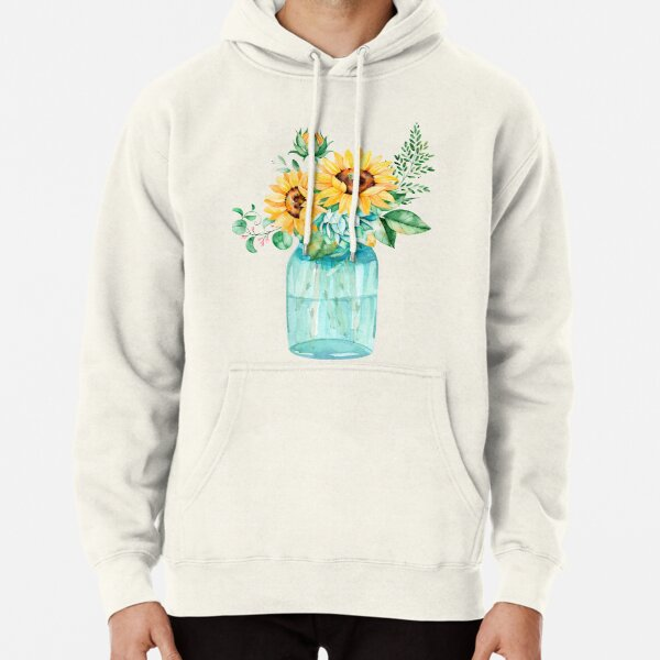 Sunflowers, Mason jar, sunflower bouquet, watercolor, watercolor sunflowers Pullover Hoodie