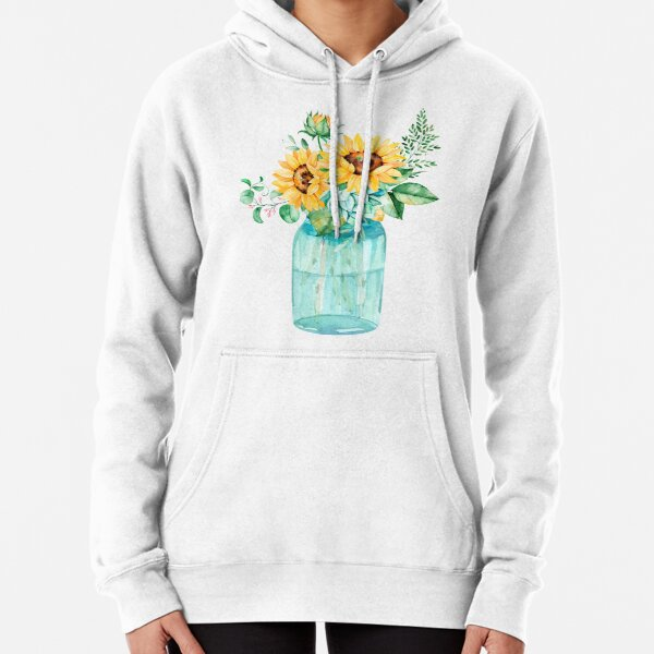 Sunflowers, Mason jar, sunflower bouquet, watercolor, watercolor sunflowers Pullover Hoodie