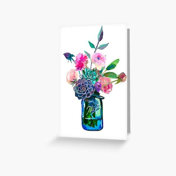 Watercolor mason jar flowers Greeting Card