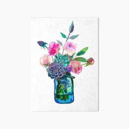Watercolor mason jar flowers Art Board Print