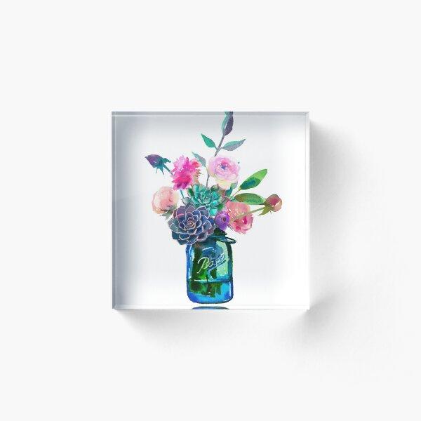 Watercolor mason jar flowers Acrylic Block