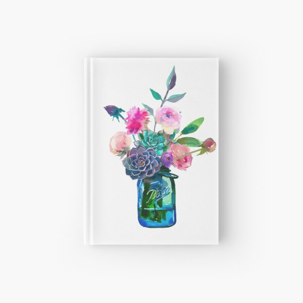 Watercolor mason jar flowers Hardcover Journal