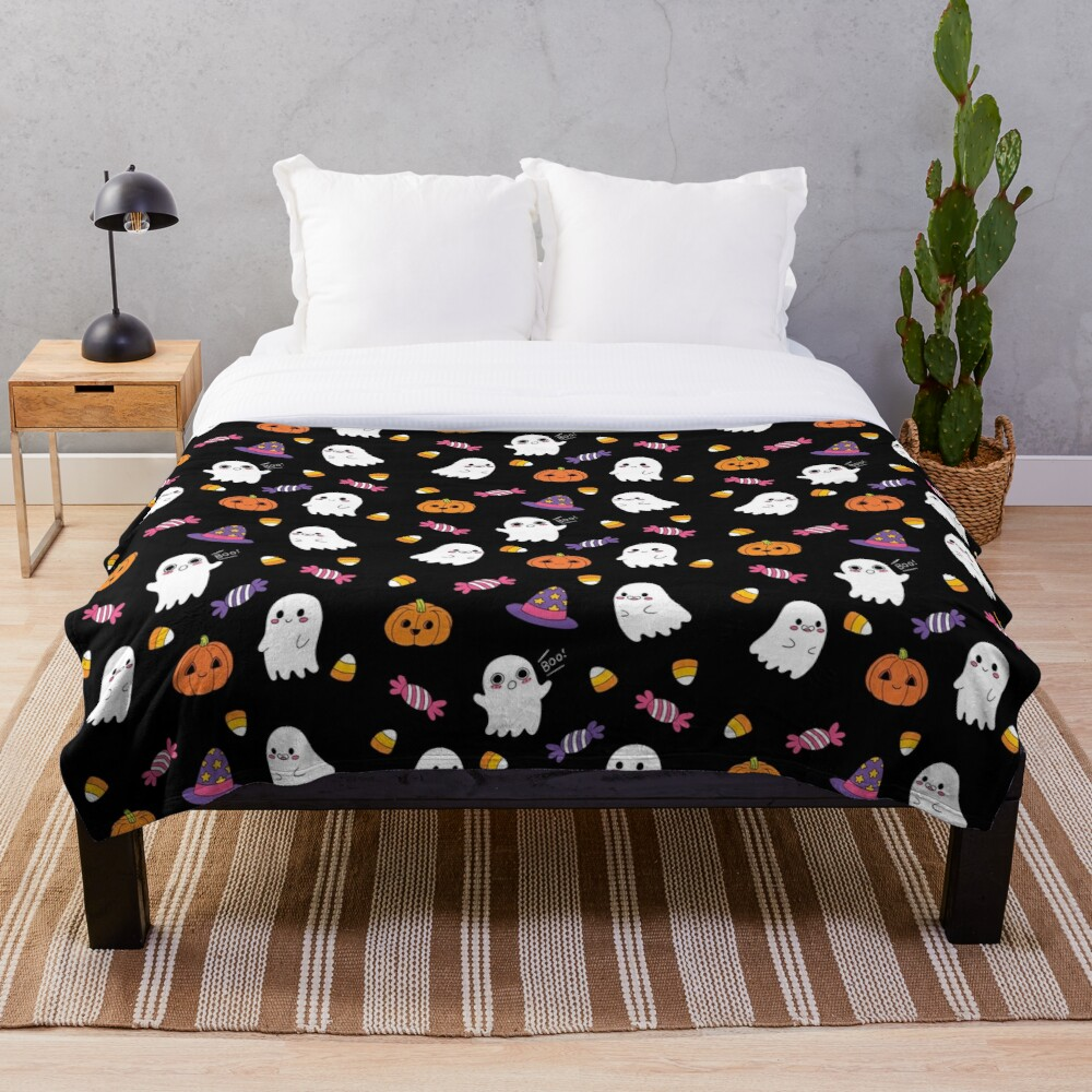 Cute Spoopy Ghosts and Halloween Candy Throw Blanket