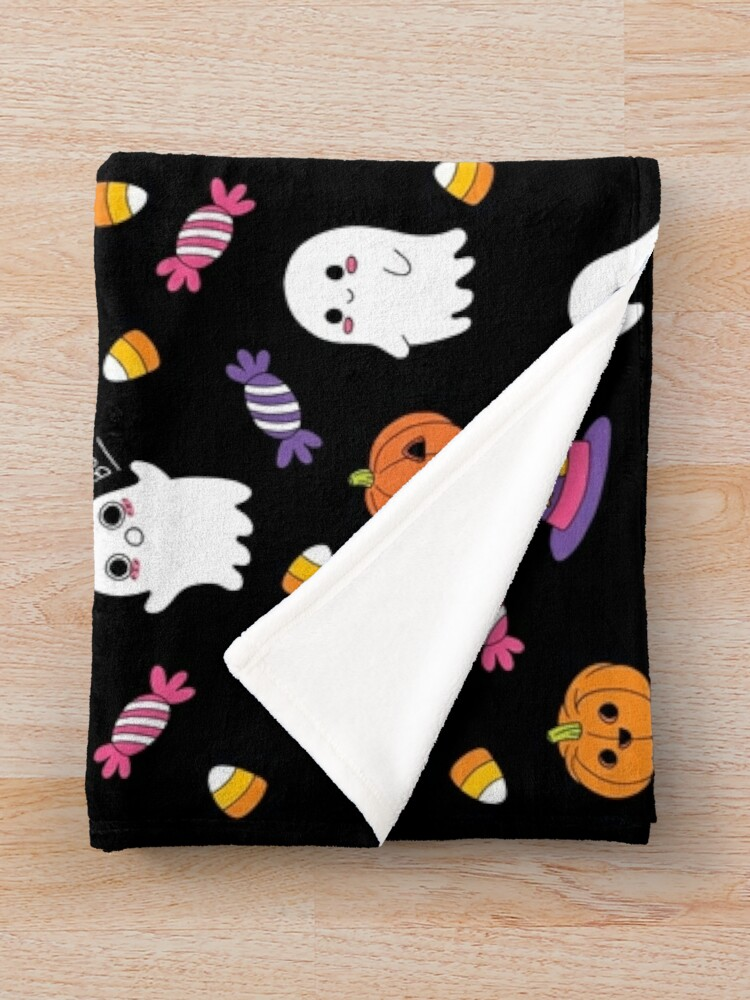 Alternate view of Cute Spoopy Ghosts and Halloween Candy Throw Blanket