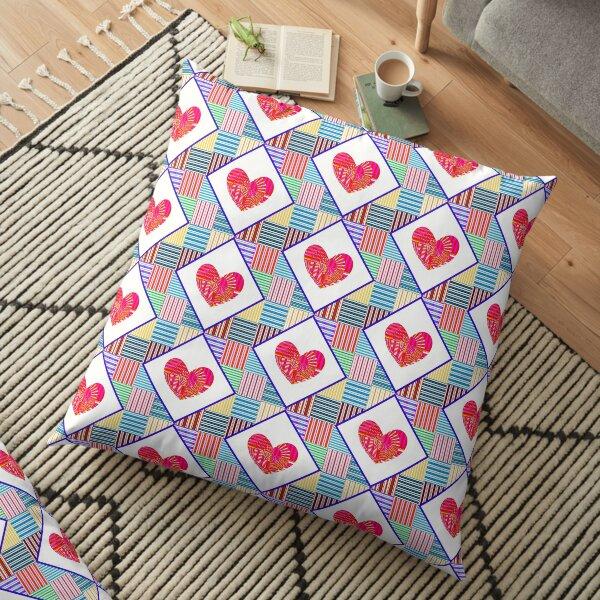 Psychedelic Heart Quilt Floor Pillow