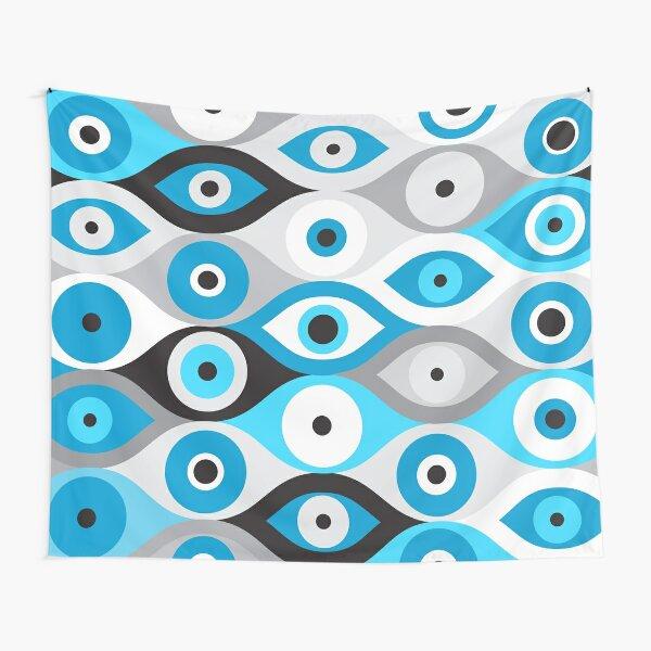 Patrón de mal de ojo griego azules y grises Tela decorativa