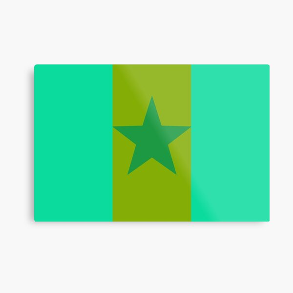 Star Flag In Green Metal Print