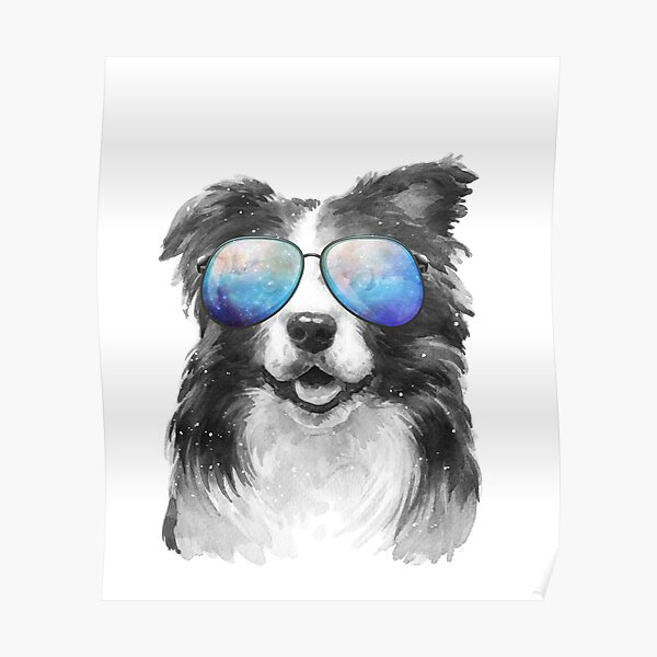 Retro Vintage Border Collie Galaxy Universe Hipster Funny Sheepdog Border Collie Lover Gift Poster