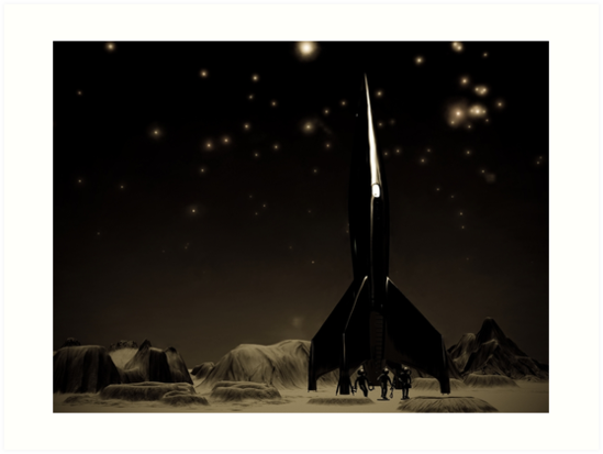 Spacemen and Rocketship by mdkgraphics